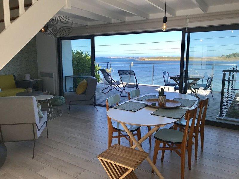 Maison au bord de l'eau avec grande terrasse sur le port de l'Aber Wrach, alquiler de vacaciones en Finistere