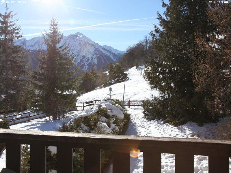 Charmant Studio Pra Loup 1500 avec grand balcon au soleil, aluguéis de temporada em Enchastrayes