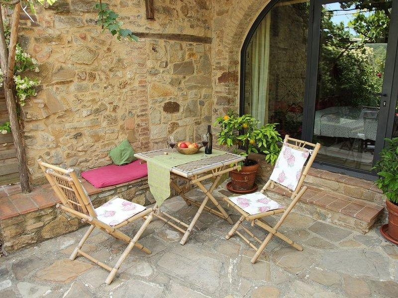 Romantico Bilocale per 2-3 Persone con terrazza privata e piscina, alquiler vacacional en Radicondoli