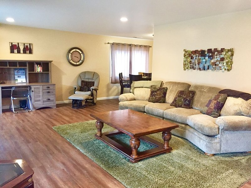 Open Living Room with Desk station