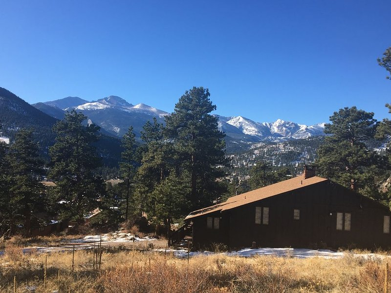 """Welcome to Estes Park and our home """"Linger Longer"""" enjoy the views of Longs Peak from the deck."""