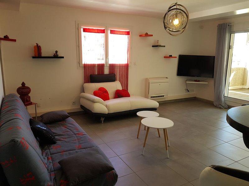 Grand T3 climatisé à 200 m de la plage Principale , garage sécurisé, holiday rental in Canet-en-Roussillon