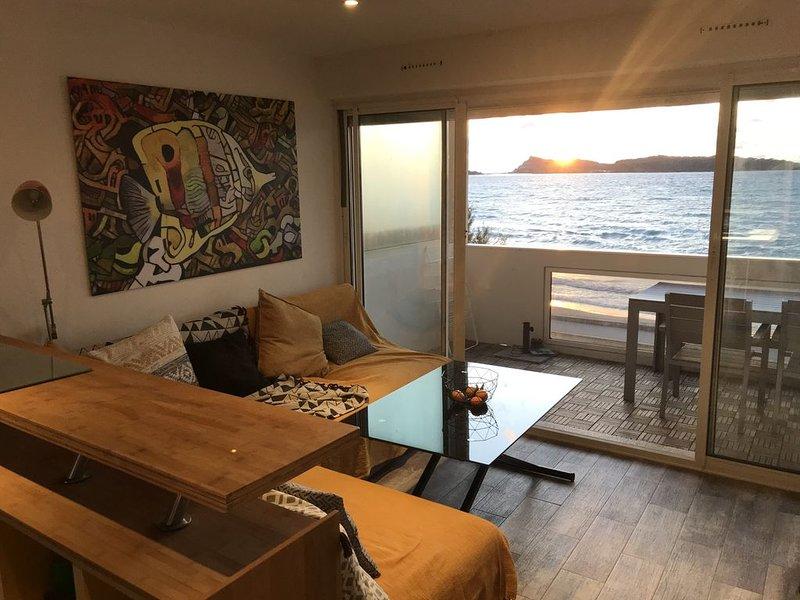 Appartement les pieds dans l'eau, plage du cros, vue mer., holiday rental in Ile des Embiez