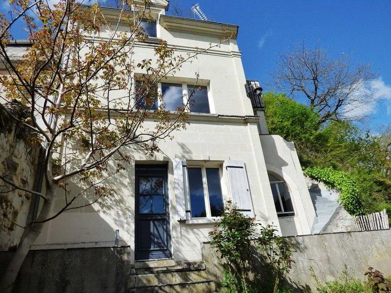 Maison troglodyte en bord de Loire 2 chambres - Pergola plein sud - 5 min Saumur, holiday rental in Gennes-Val-de-Loire