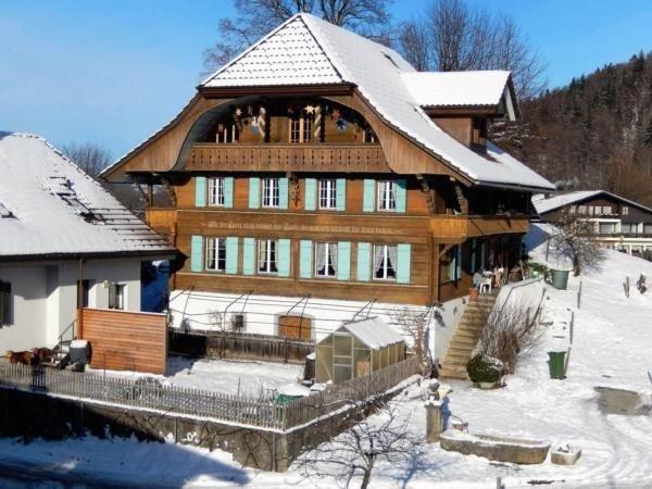 Unser Haus im Winter...Die Wohnung mit Galerie befindet sich im Dachstock