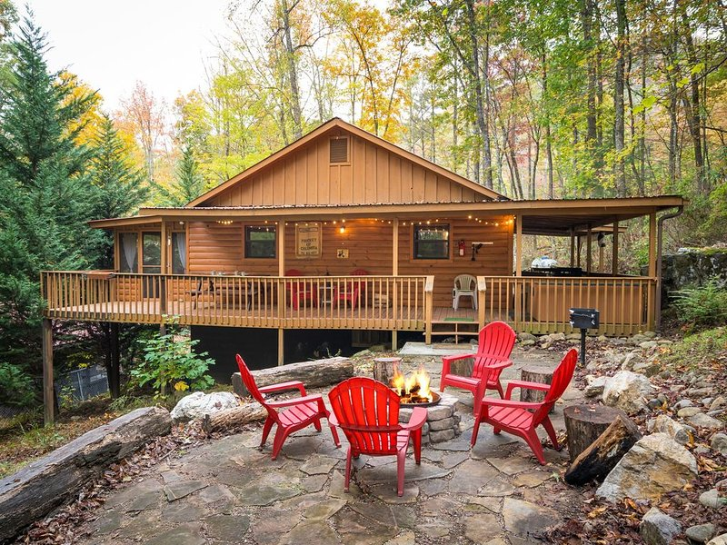 Cosby Rustic Treat! W/ Wrap Around Porch, Hot Tub, WiFi, & a Rock Fire-Pit!, vacation rental in Cosby