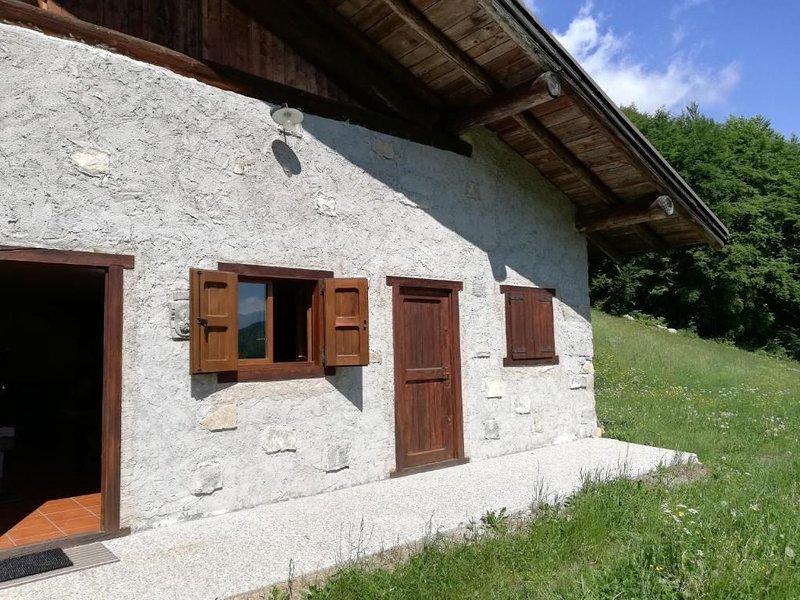 Wunderschönes Ferienhaus 'Baita Rustica immersa nel verde' mit Bergblick; Hausti, alquiler de vacaciones en Castel Condino
