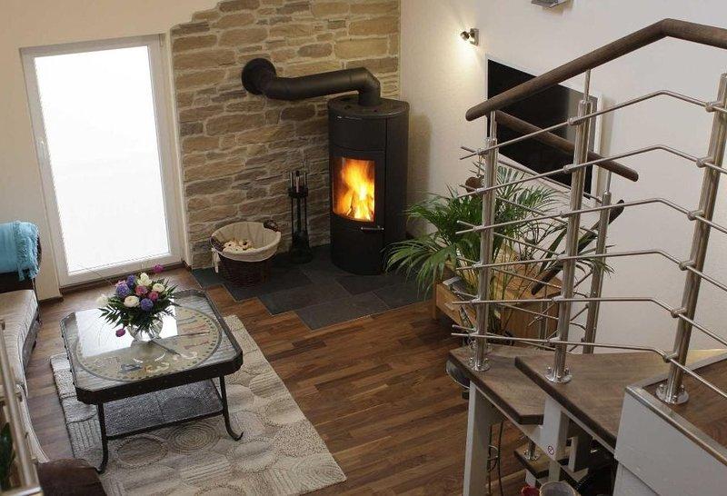 Wellness Relax Loft (70qm) mit integrierter Sauna, Kaminofen und eigener Terrass, location de vacances à Schollbrunn