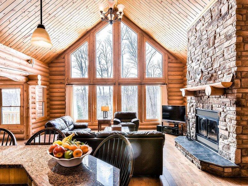 Les fenêtres du sol au plafond permettent à la lumière du soleil de pénétrer dans cette luxueuse maison en bois rond d'exception