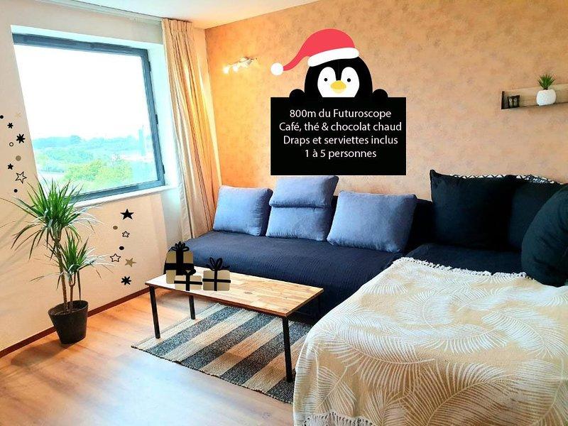 ★ Appartement 30m² 1/5 pers - 800m Futuroscope ★, holiday rental in Neuville de Poitou