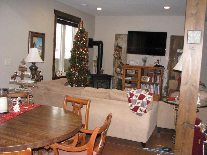 Gran concepto de sala: cocina, sala de estar, comedor