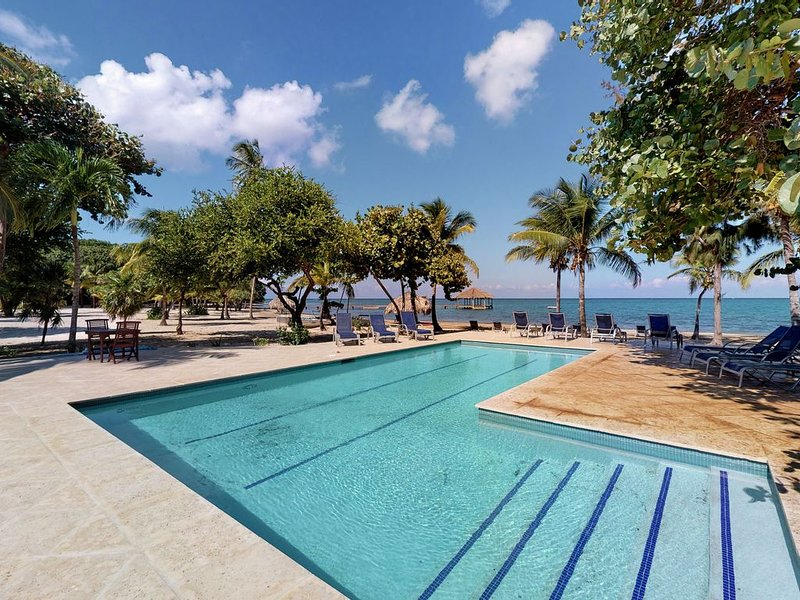 Oceanfront, jungle paradise w/ large deck, shared pool, volleyball, beach access, casa vacanza a Dixon Cove