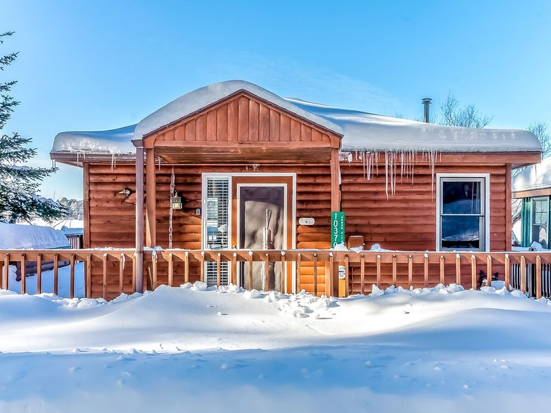 New listing! Lakefront cabin with dock, over-water deck, year-round views!, holiday rental in Arbor Vitae