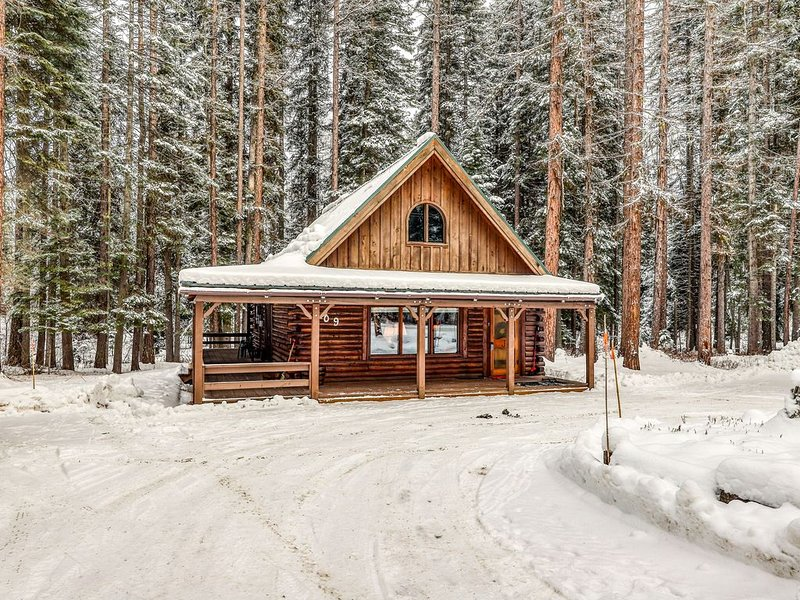 Lovely dog-friendly cabin w/full kitchen, wrap around deck, & private gas grill!, holiday rental in New Meadows