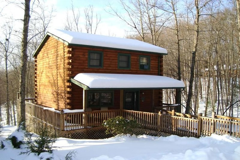 The Cardinal log cabin. Wrap around deck, firepit. Next to Pipestem resort park., holiday rental in Greenville