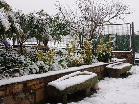 terraço com neve
