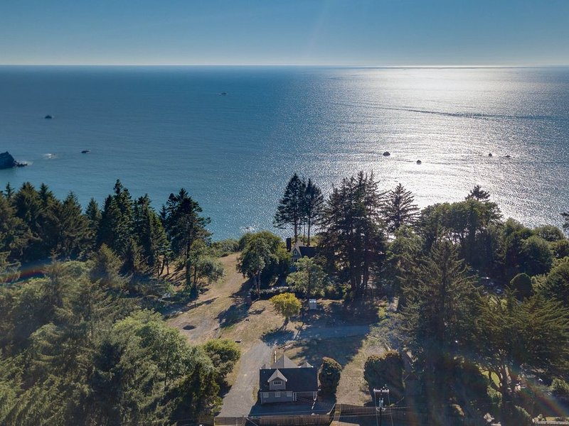 Beautiful coastal cabin with ocean views, private deck, hot tub and BBQ!, holiday rental in Humboldt County