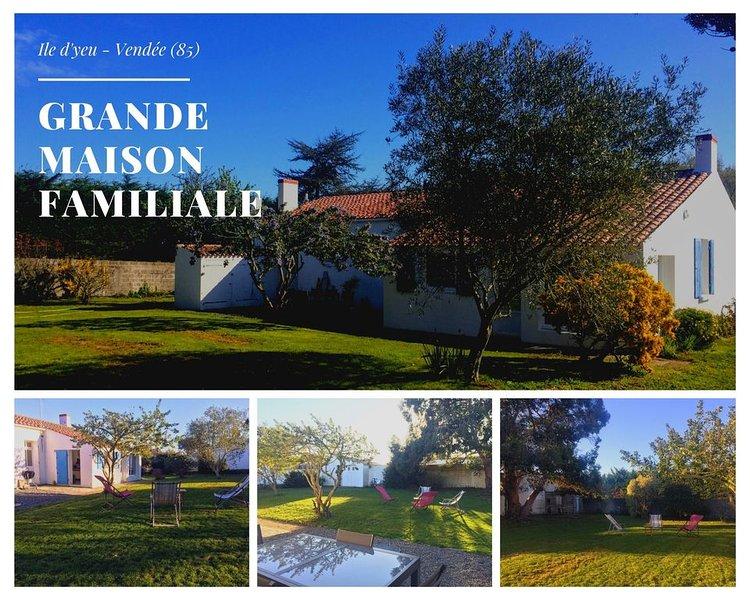 Maison ile d'yeu  10 couchages jardin 1200 m², vakantiewoning in Ile d'Yeu