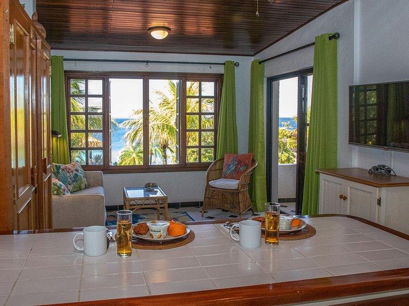 Oceanfront one bedroom apt in Cliff Haven Villa, divers paradise, alquiler vacacional en Sabadeco