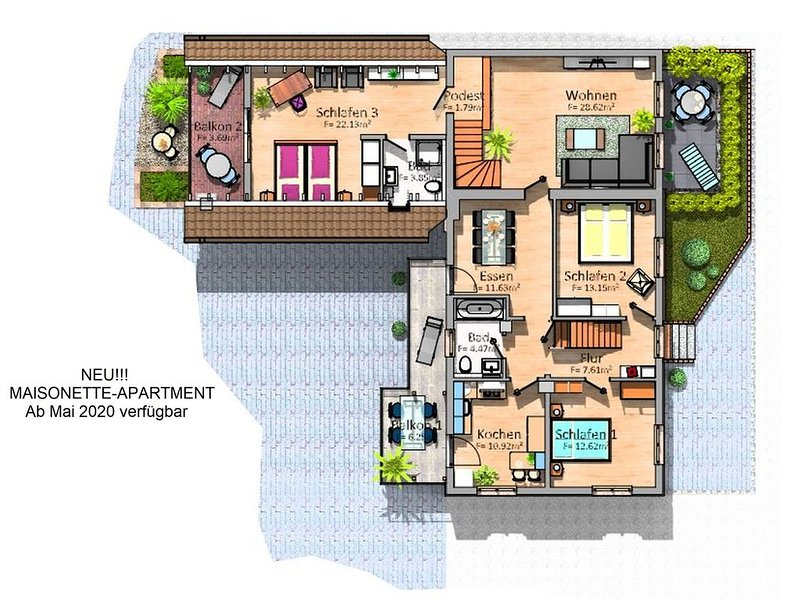 Maisonette Apartment, 127qm, 3 Schlafzimmer, max. 6 Personen, holiday rental in Neuhausen am Rheinfall