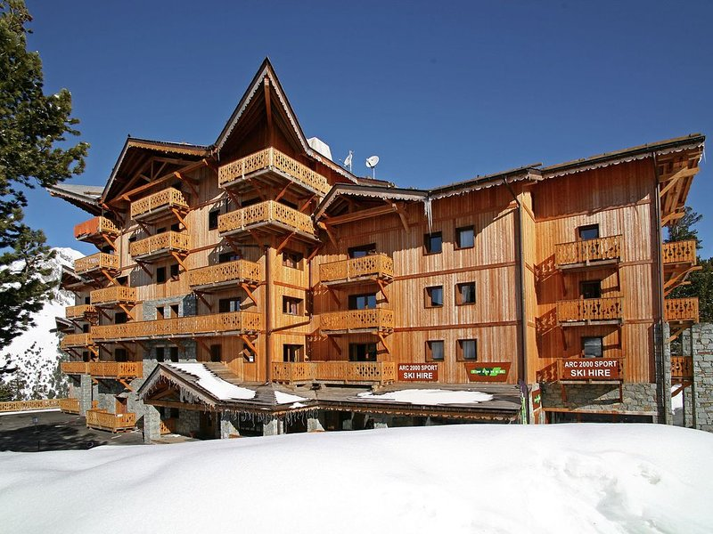Cozy rustic apartment with a fireplace and Wi-Fi in Arc 2000, holiday rental in Les Arcs