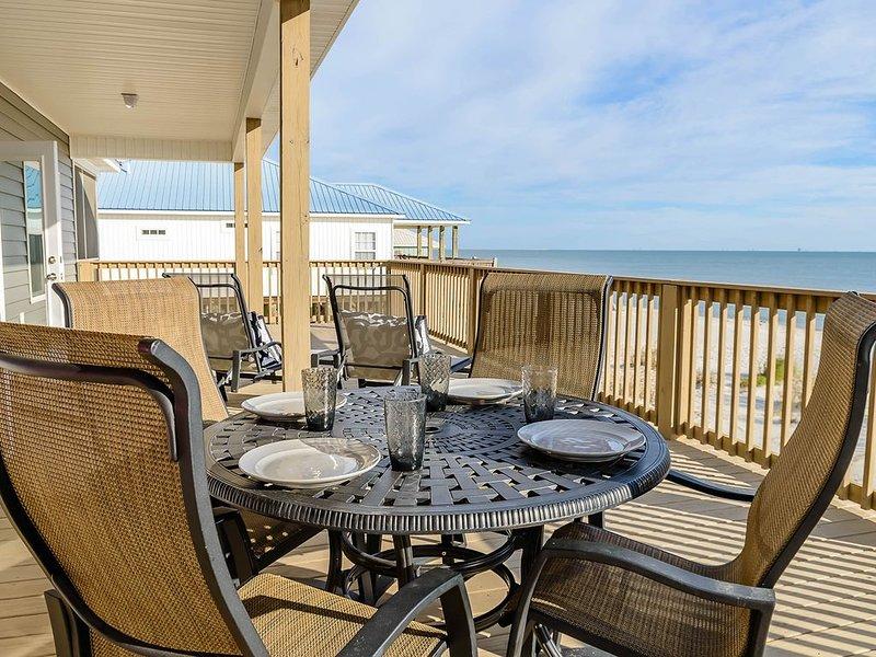 Charming beachfront home w/ ocean views, easy beach access & wrap-around deck!, holiday rental in Coden