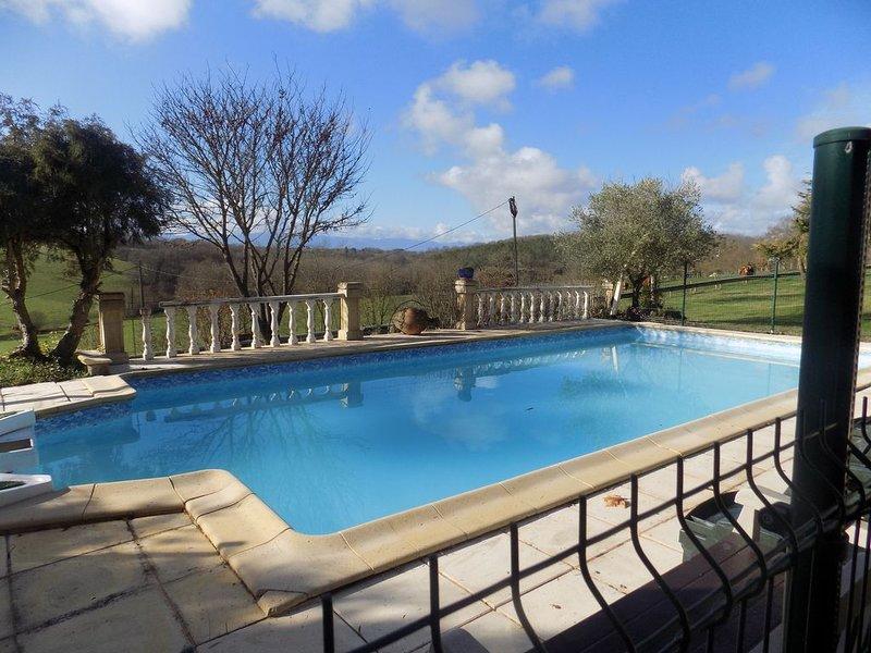 Grand appartement entierement rénovée et piscine avec vue Pyrénées, holiday rental in Cassagnabere-Tournas