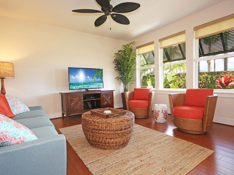 Free Rental Car, PM 15H Brand New Ground Floor A/C Condo In Poipu, holiday rental in Poipu