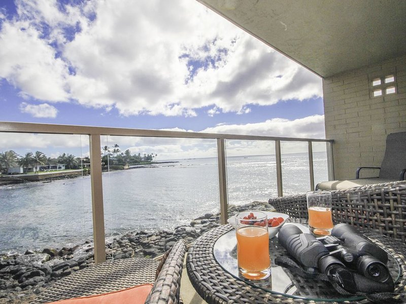 Oceanfront, AC, Sea Turtle Views, Beach Next Door - KS208, holiday rental in Hanapepe