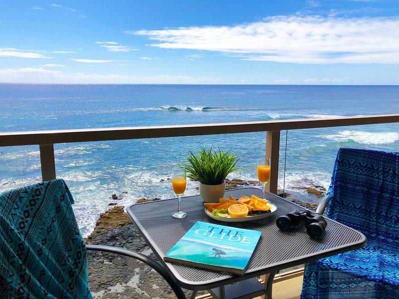 Oceanfront, AC, Top floor View - KS416 - Kuhio Shores 416, holiday rental in Hanapepe