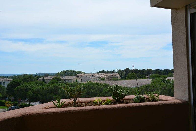 Appartement lumineux 51 m², terrasse, belle vue, centre ville, parking privatif., holiday rental in Arpaillargues