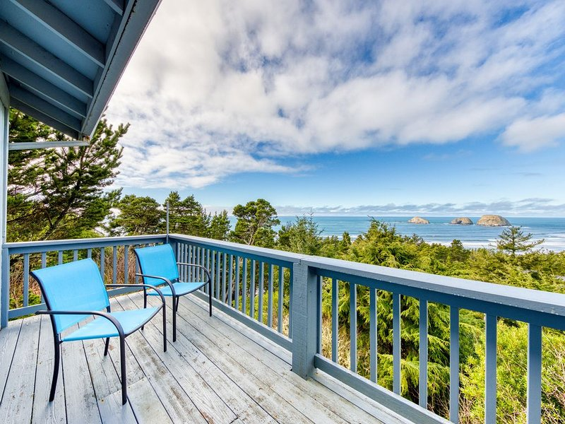 Premium Cleaned | Stunning home w/ ocean view, spacious deck - walk to the beach, holiday rental in Cape Meares