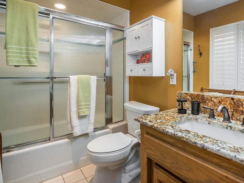 Second master suite bath includes a tub shower combination