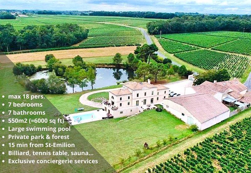 15min de St Emilion, Château avec piscine sur grande propriété avec vignoble BIO, holiday rental in Saint-Cibard