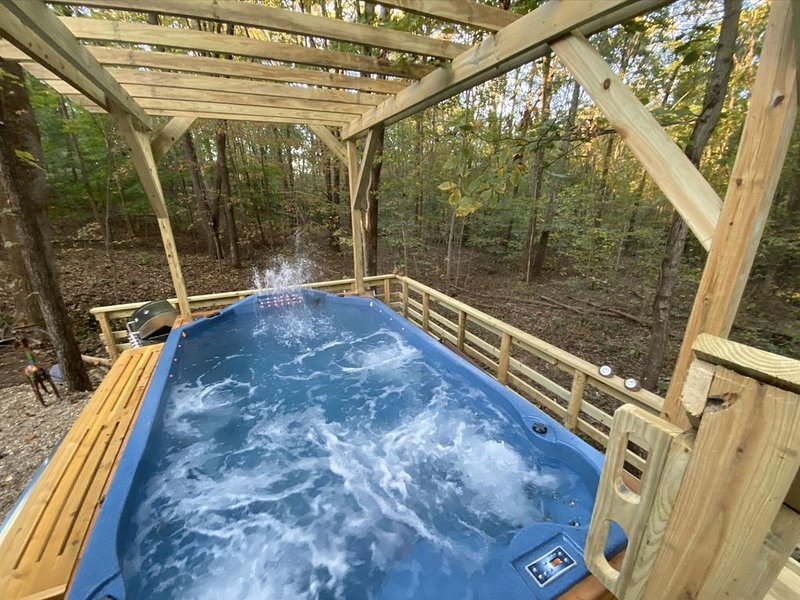 Swim Spa- Shaded Wooded Cabin 2 miles to Lake/Park Entrance use our park pass!, location de vacances à Taswell