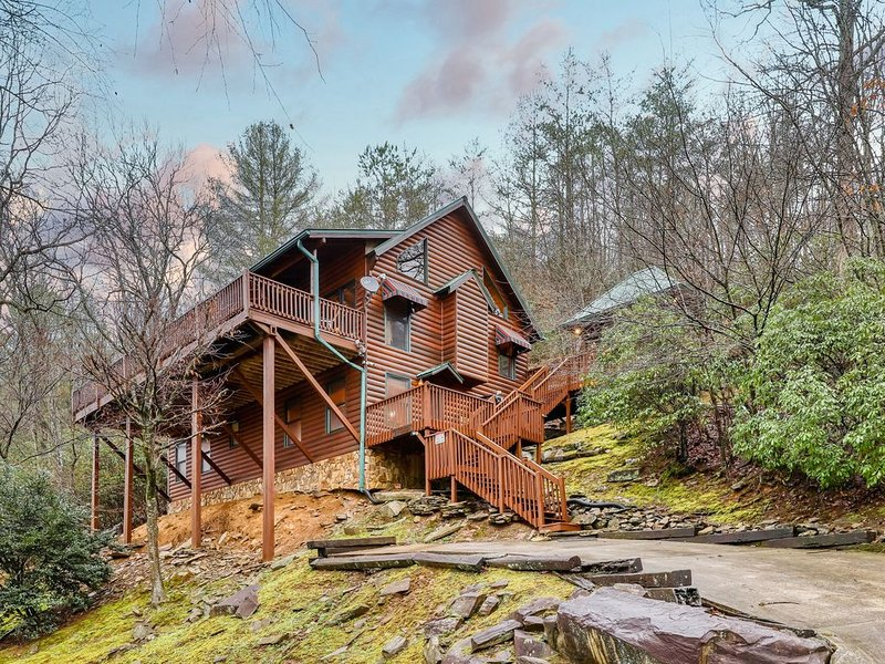 Dog-friendly waterfront cabin w/ media room, free WiFi, & private hot tub!, vacation rental in Mineral Bluff