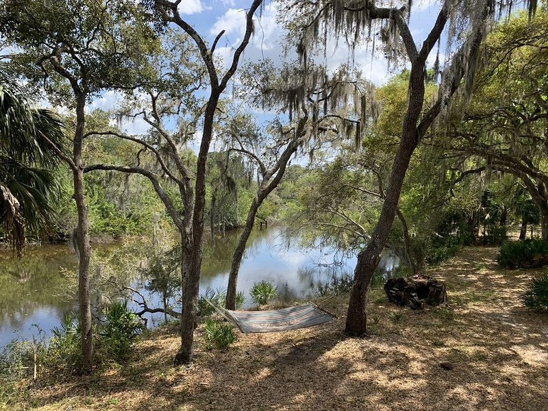 Luxurious house on secluded 3.8 acres, oak trees on Manatee River, large decks, holiday rental in Parrish