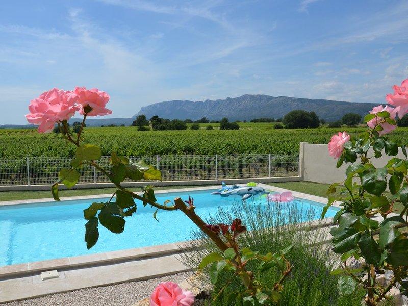 Vue Sainte Victoire, grand appartement neuf avec piscine proche Aix-en-Provence, location de vacances à Pourrieres