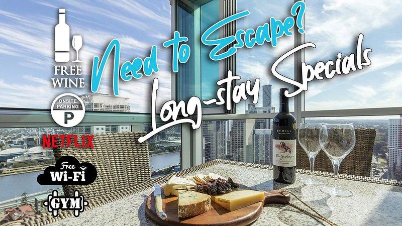 2BR EPIC VIEWS ★CBD 2Cars�Pool�Wine�Gym�Netflx, alquiler de vacaciones en Brisbane