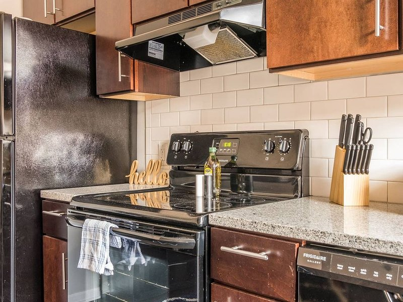 The kitchen is stocked with cookware to cook simple meals.