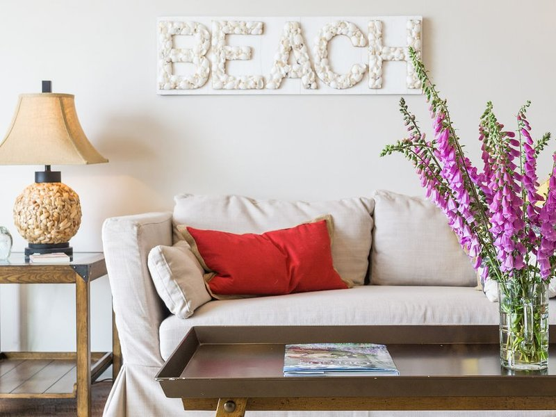 Beautifully coordinated details create a luxurious beachside retreat