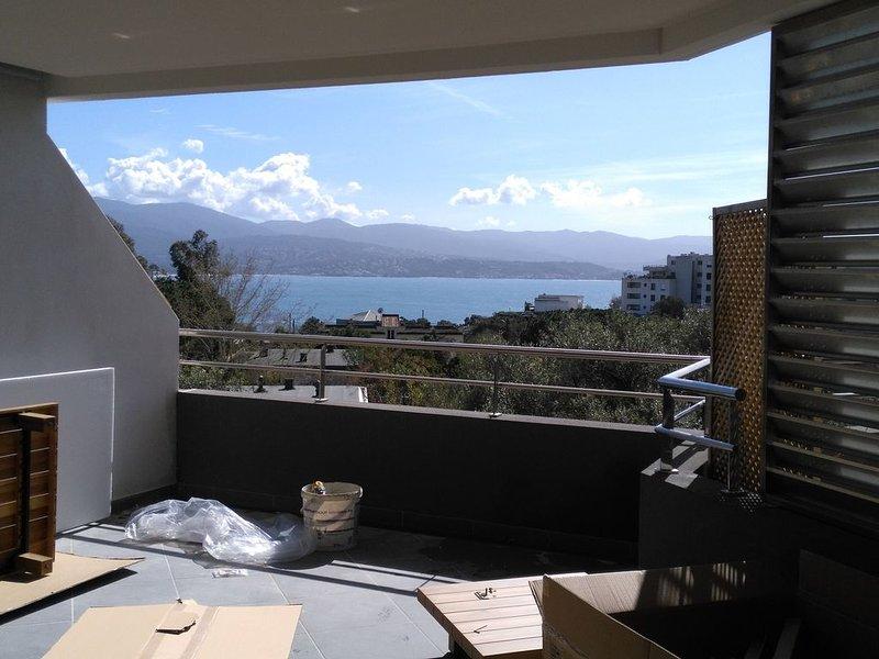 Magnifique T2 en parahotelier  avec terrasse de 23m2  exposée sud vue mer, vacation rental in Mezzavia