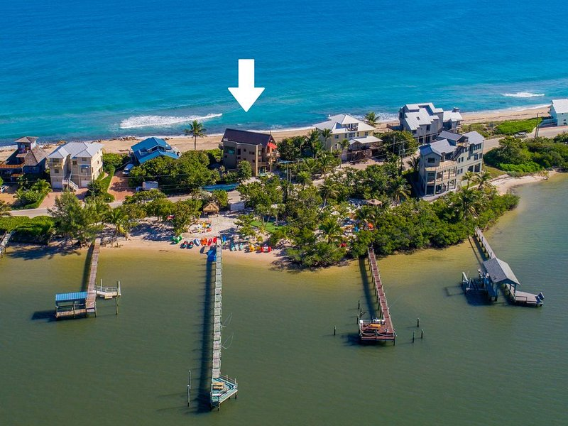Art on the Beach:  Ocean-to-river house, ON beach. Pool, Hot Tub, Elevator, Dock, holiday rental in Stuart