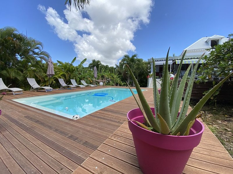 Creole villa, large garden with trees and a private pool, holiday rental in Saint Francois