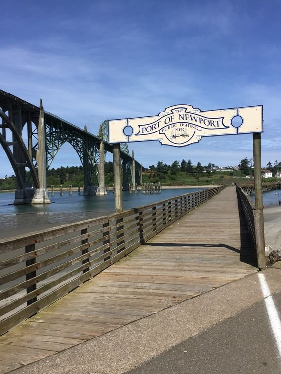 You can crab or fish off of the public dock on the south side of the bridge.