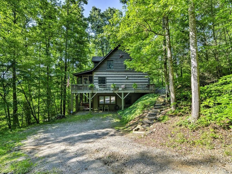 Log Cabin in Black Mountain (near Asheville) w/ Hot Tub, Pool Table & Wi-Fi, vakantiewoning in Bat Cave