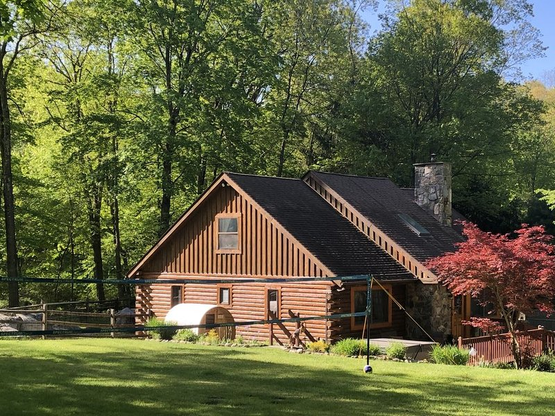 DOMIR Garrison log cabin +hot tub+barrel sauna, alquiler vacacional en Putnam Valley