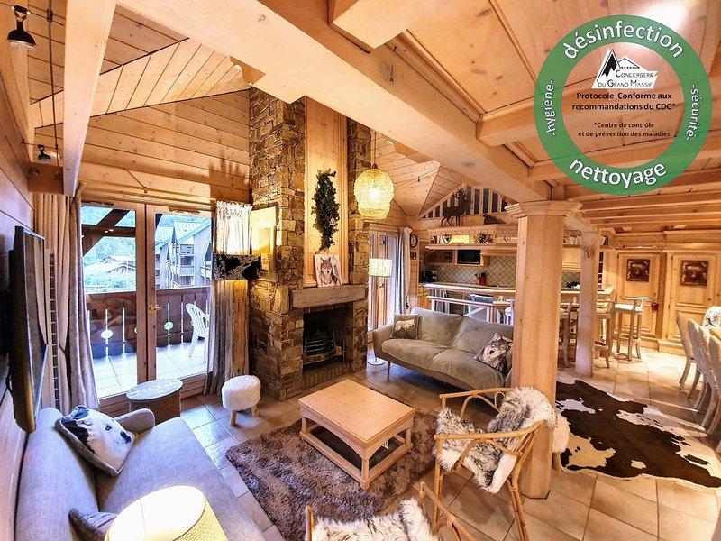 Appartement de prestige tout inclus idéal pour les familles - coeur de village, vacation rental in Samoens