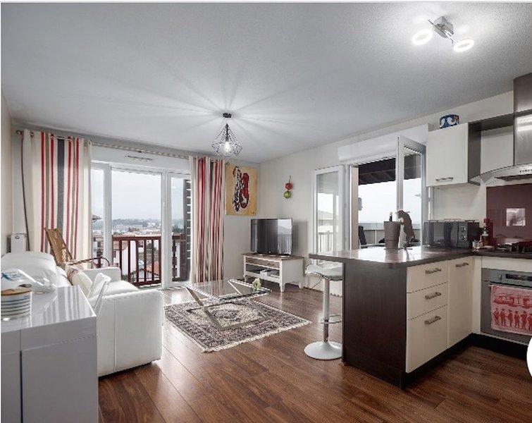Appartement avec terrasse offrant une vue mer et montage à 10min de la plage, location de vacances à Ciboure