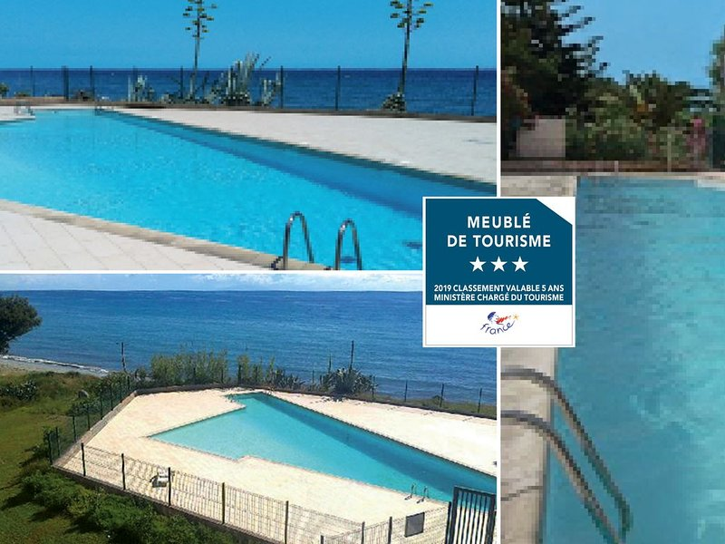 STUDIO clim, ascenseur, terrasse mer / plage & piscine, parc arboré, parking, alquiler de vacaciones en Santa Lucia di Moriani